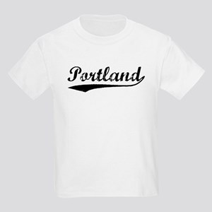 Vintage Portland (Black) Kids Light T-Shirt